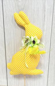 Пасхальный заец Hand Made (желтый в белый горошек)