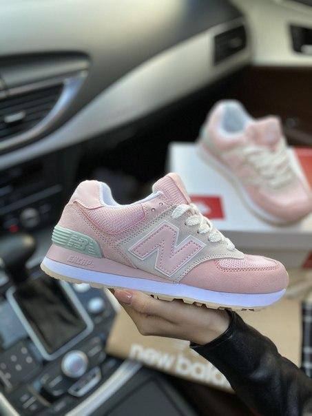 Женские стильные розовые кроссовки New Balance 574