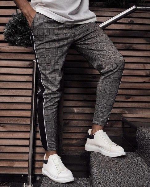 Мужские жаккардовые зауженные штаны