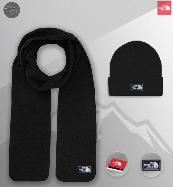 Теплый комплект: шапка и шарф The North Face, 8 цветов