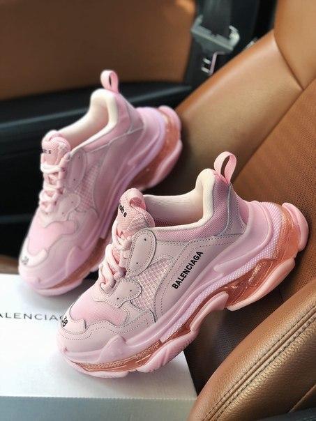Кожаные женские кроссовки Balenciaga Triple S 2.0 Pink Air Sole