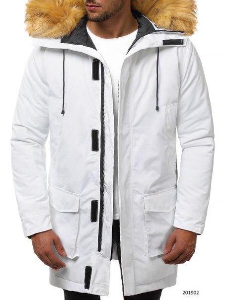 Мужская белая куртка-парка, до -10