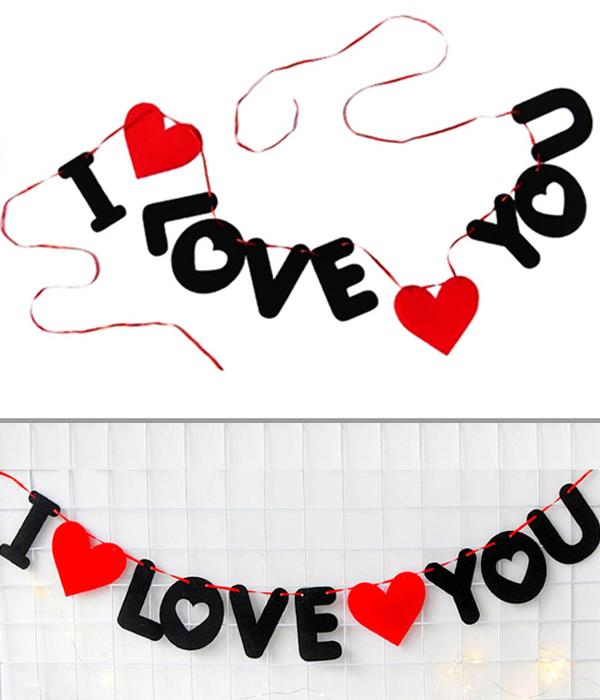 """Гирлянда из фетра """"I love you"""""""