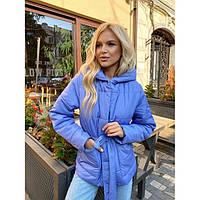 Женская демисезонная куртка с капюшоном и поясом 04447