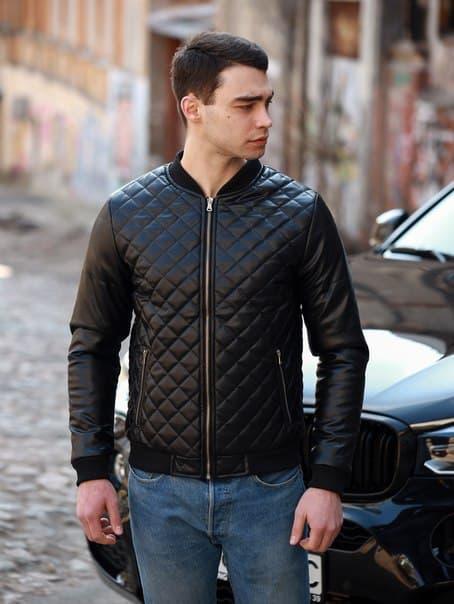 Стеганая кожаная мужская куртка, премиум качество