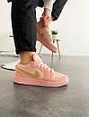 Розовые женские кроссовки Nike Air Jordan 1 Low Coral Sued, фото 6