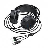 Наушники игровые Hoco W100 Touring gaming headset с микрофоном Black