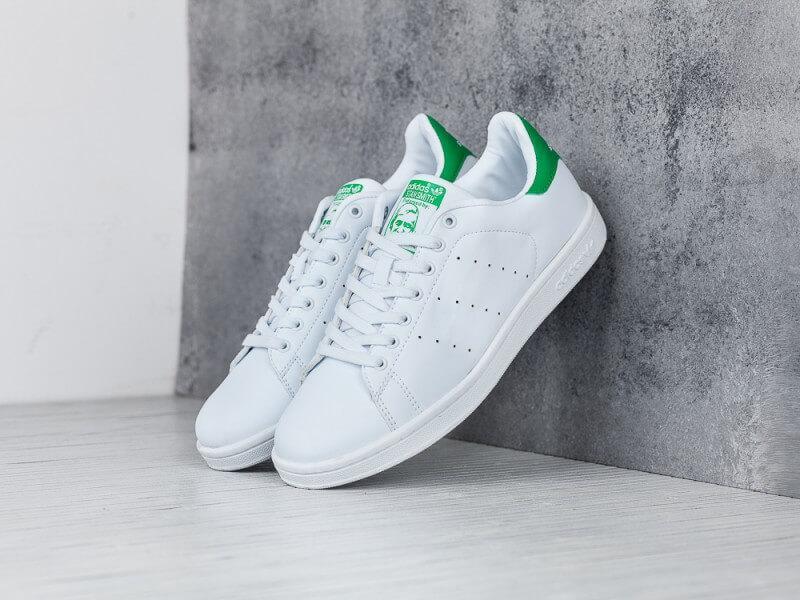 Кроссовки Adidas Stan Smith белые с зеленым (Адидас Стен Смит белые мужские и женские размеры 36-45)