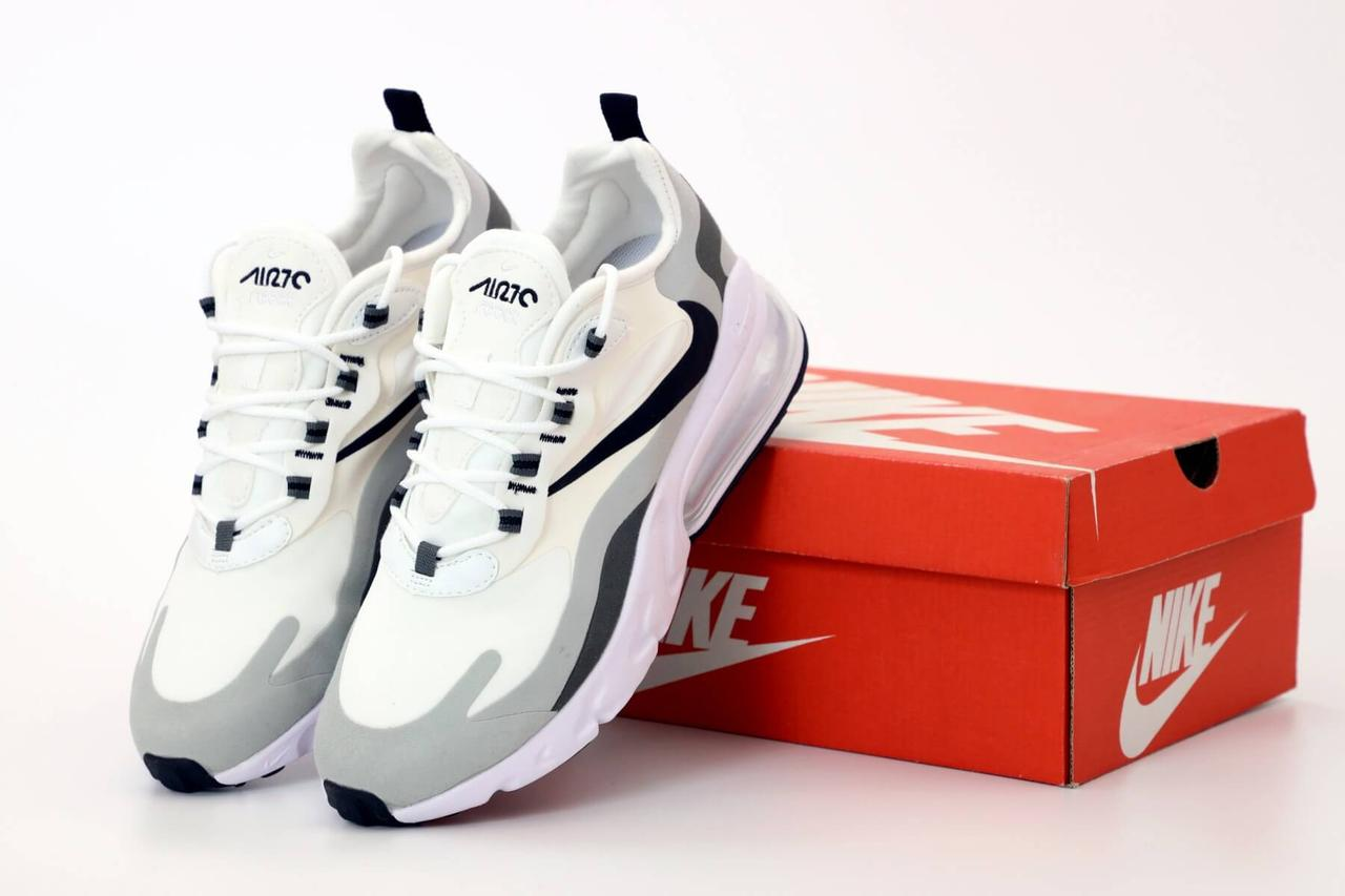 Мужские кроссовки Nike Air Max 270 React Grey White (Найк Аир Макс Реакт белые с серым)