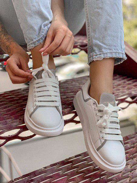 Кожаные кроссовки Alexander McQueen White