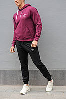 Мужской спортивный костюм Adidas (Адидас), бордовая худи и черные штаны весна-осень (реплика)