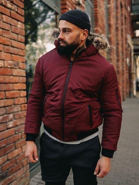 Бордовая короткая мужская куртка до -25, Турция