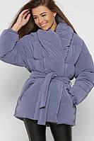 Женская зимняя куртка с бархатным напылением джинс LS-8881-35