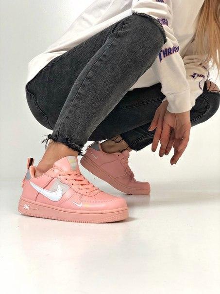 Розовые женские кроссовки Nike Air Force с амортизирующей вставкой Air