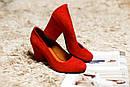 Женские замшевые туфли (красные, черные), фото 2