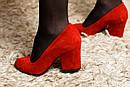 Женские замшевые туфли (красные, черные), фото 3