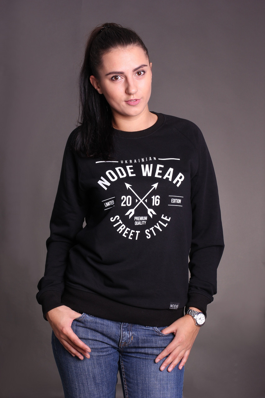 Свитшот Node vintage oversize, черный женский свитшот