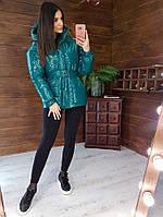 Теплый пуховик женский стильный с поясом изумруд