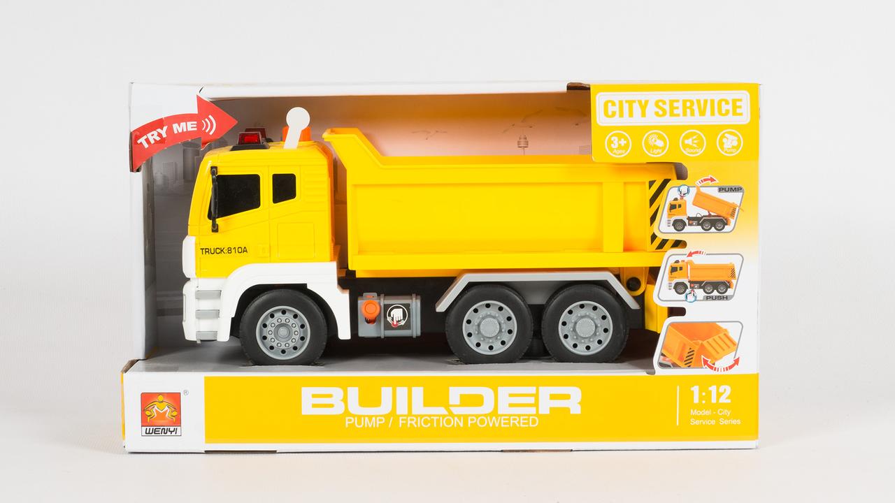 """Машинка грузовик спецтехника с воздушной помпой """"City service"""" желтый (свет, звук)"""