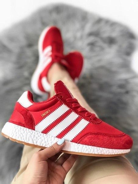 Женские кроссовки Adidas Iniki Red из замша, топ качество