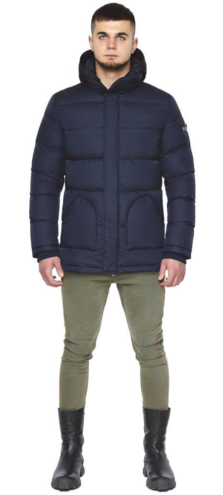 Зимняя куртка темно-синяя мужская с ветрозащитным клапаном модель 27544 (ОСТАЛСЯ ТОЛЬКО 46(S))