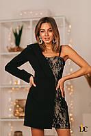 Комбинированное асимметричное платье пиджак женское - Р 2677
