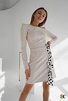 Замшевое платье с декором из ленты - Р 2691