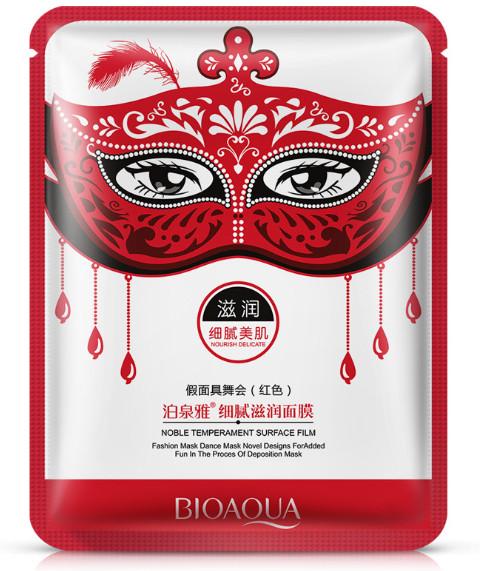 Поживна Маска для обличчя карнавальна червона BIOAQUA Masquerade Nourish Delicate Moisturizing Mask, 30г