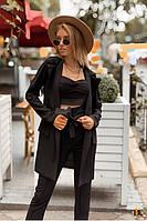 Женский костюм брючный с топом тройка черный- Р 2542