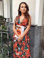 Плиссированное шифоновое платье женское миди - Р 2734
