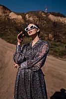 Шифоновое платье женское с пышными рукавами - Р 2728