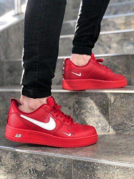 Красные кожаные мужские кроссовки Nike Air Force