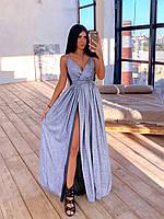 Макси платье женское сиреневое из люрекса вечернее