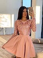 Красивое платье женское розовое с пышной юбкой