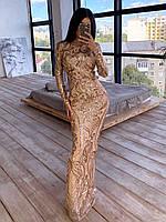 Сверкающее платье женское макси золотое