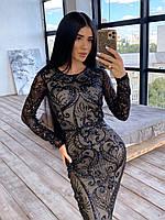 Сверкающее платье женское макси черное