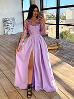 Макси платье женское лиловое с кружевным верхом