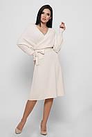 Вязаное платье женское на запах молочное KP-6574-3