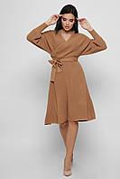 Вязаное платье женское на запах бежевое KP-6574-10