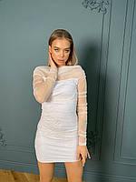 Нежное мини платье женское белое