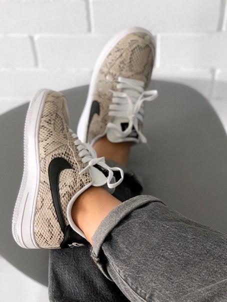 Женские кроссовки Nike Air Force 1 со змеиным принтом