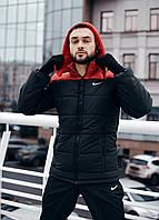 """Зимняя мужская куртка """"Европейка"""" черно-красного цвета"""