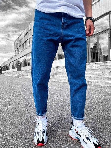 Синие мужские джинсы свободного кроя, Турция