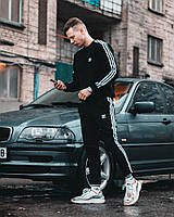 Спортивные штаны в стиле Adidas Three line черные
