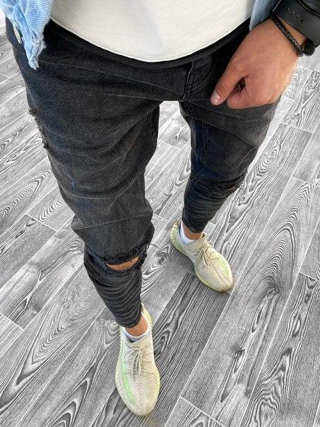 Мужские темно-серые зауженные джинсы, Турция