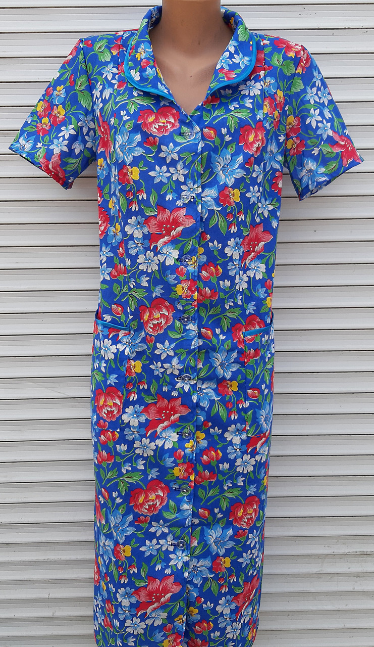 Летний халат с коротким рукавом 58 размер Анютки на синем