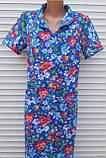 Летний халат с коротким рукавом 58 размер Анютки на синем, фото 4