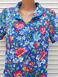 Летний халат с коротким рукавом 58 размер Анютки на синем, фото 7