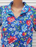 Летний халат с коротким рукавом 58 размер Анютки на синем, фото 9