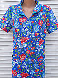 Летний халат с коротким рукавом 58 размер Анютки на синем, фото 10